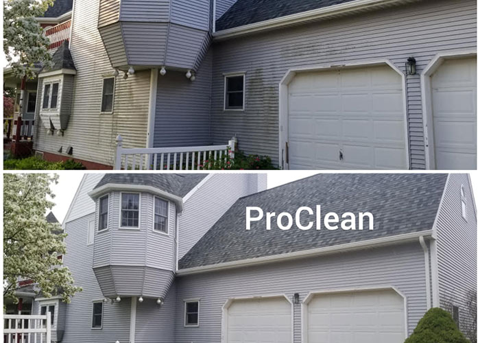 before and after pressure washing home in Gaylord